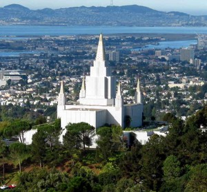 Looking over San Francisco Bay and the Oakland Temple